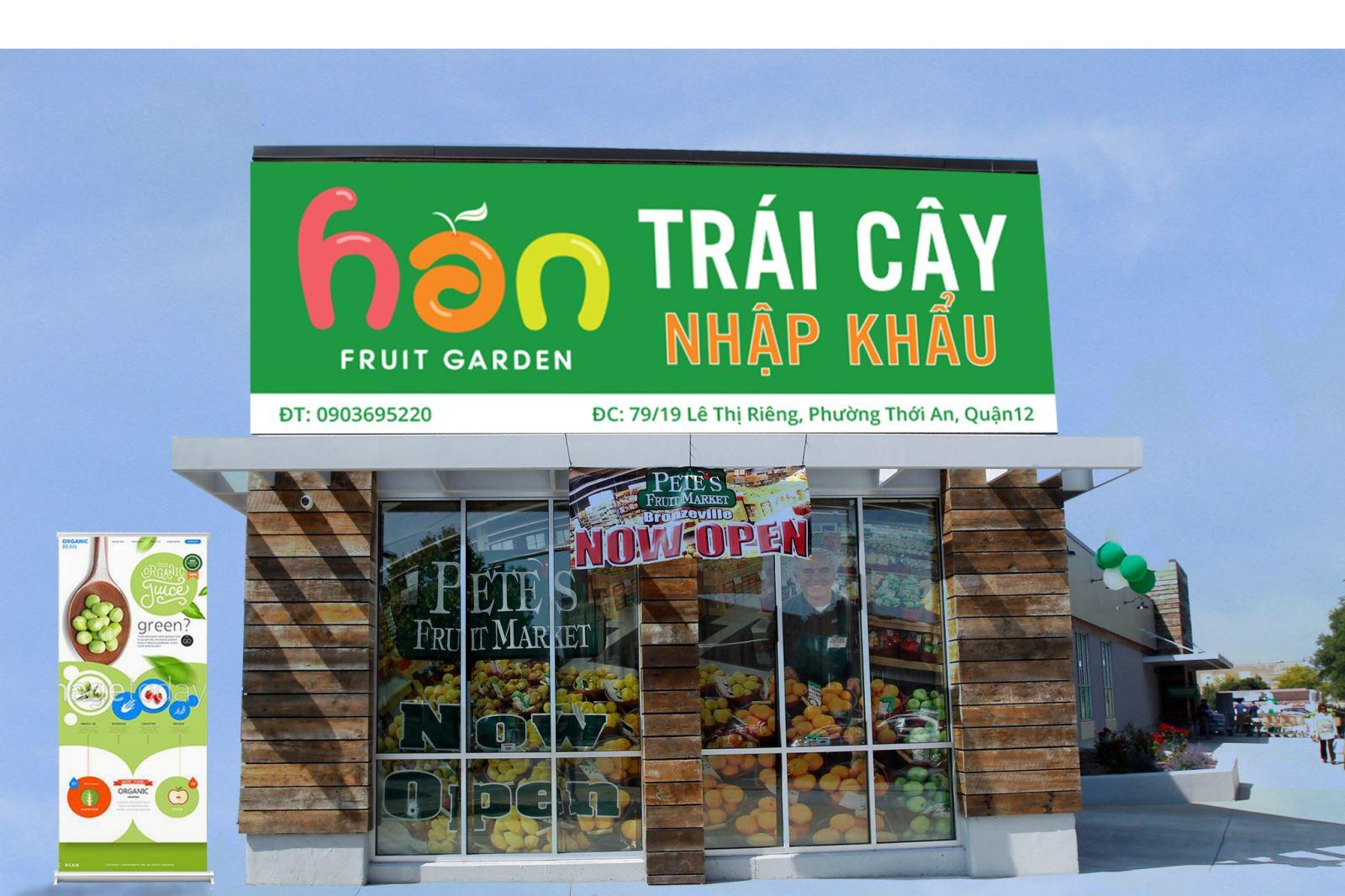 Thiết kế bảng hiệu, standee thương hiệu Han Fruit Garden